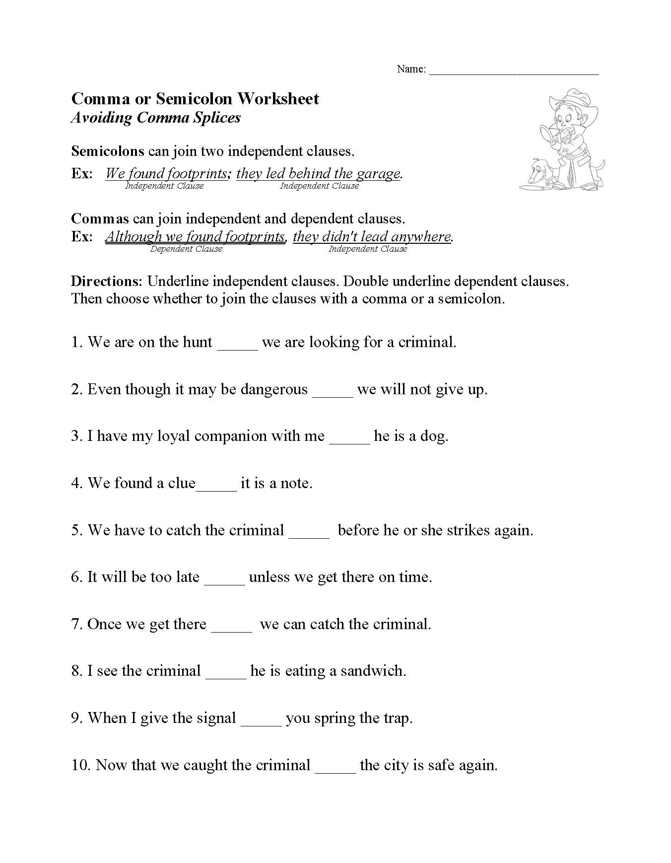 This is a preview image of our Comma or Semicolon Worksheet. Click on it to enlarge this image and view the source file.