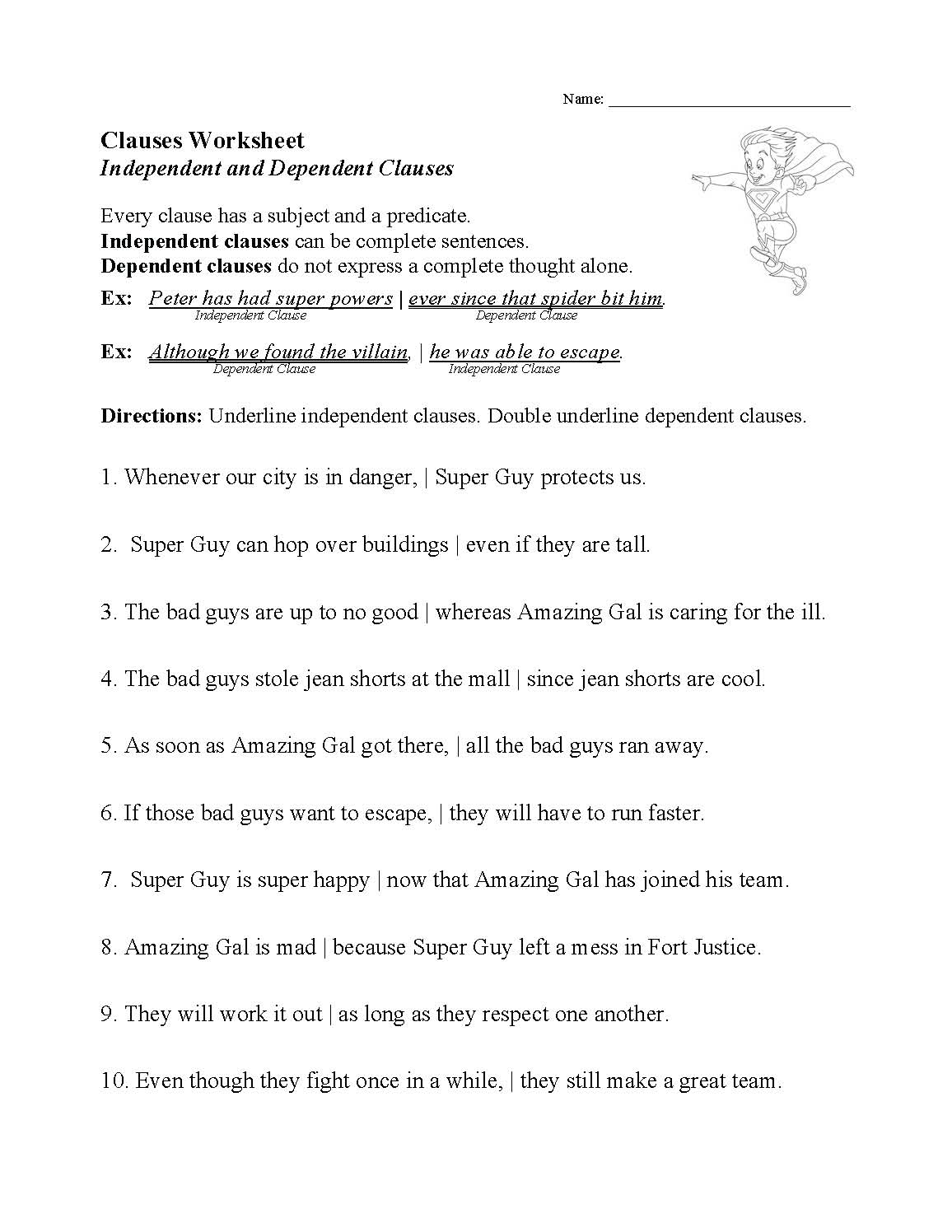Clauses Worksheet Sentence Structure Activity Looking for worksheets about sentence structure skills? worksheet land