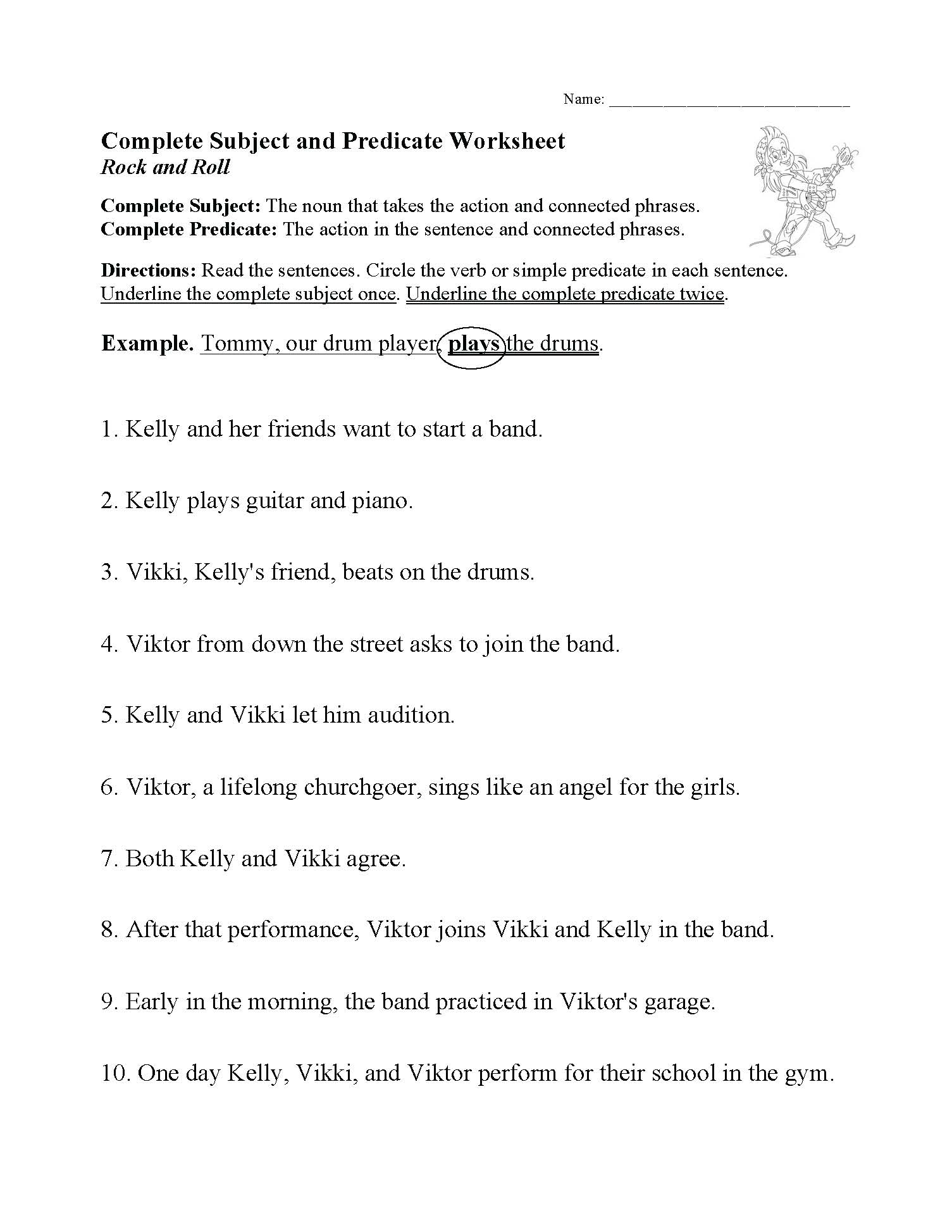 This is a preview image of our Complete Subject and Predicate Worksheet. Click on it to enlarge this image and view the source file.