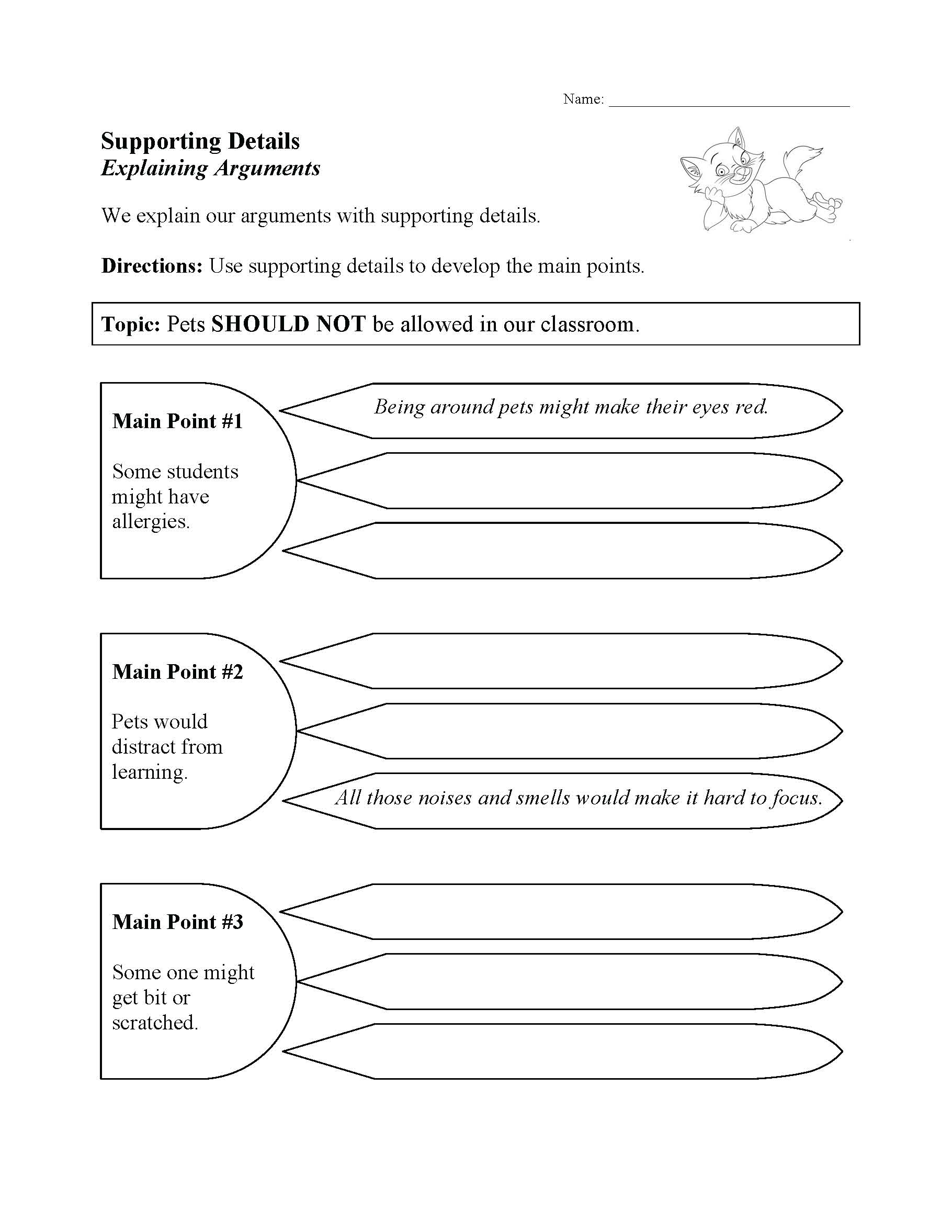 This is a preview image of our Supporting Details Worksheet. Click on it to enlarge this image and view the source file.